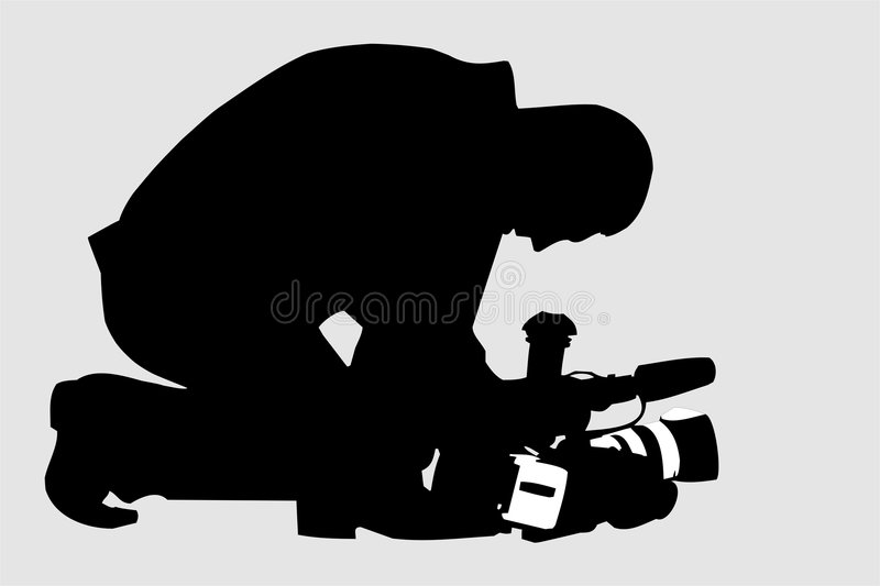 Cameraman. Silhouette of video operator (vector