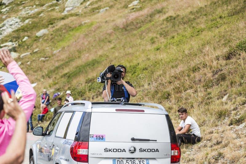 Cameraman in Actie - Ronde van Frankrijk 2015 royalty-vrije stock foto