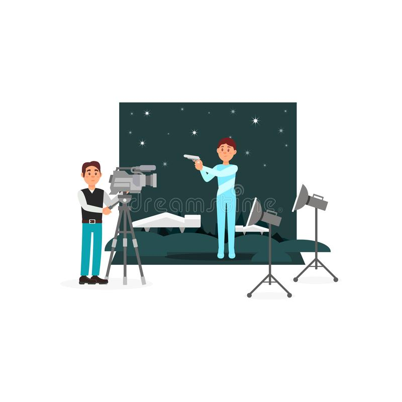 Cameraman and actor working on the fantastic film, entertainment industry, movie making vector Illustration on a white. Cameraman and actor working on the royalty free illustration