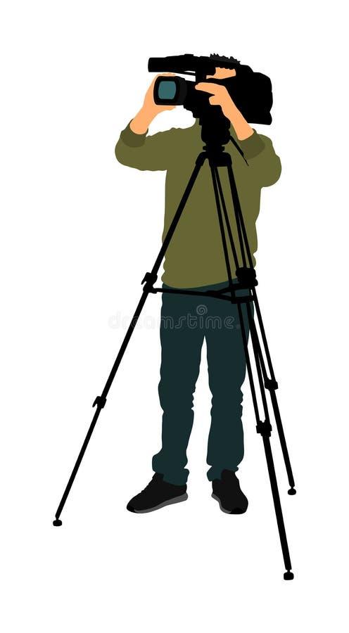 Cameraman com câmera de vídeo em evento, concerto, evento esportivo, isolado em segundo plano Ilustração vetorial do homem da câm fotos de stock royalty free