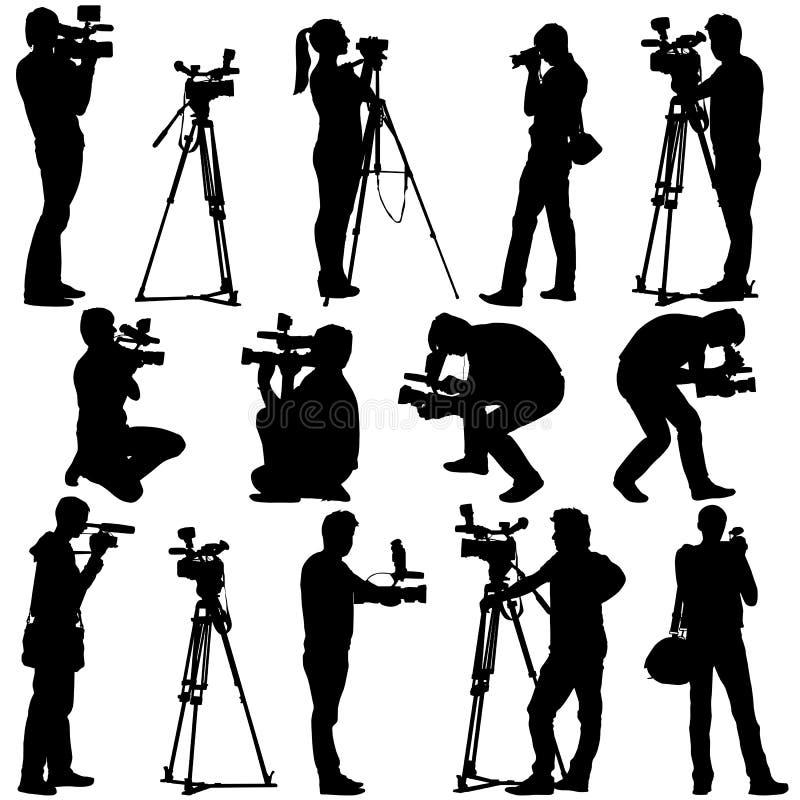 Cameraman con la cámara de vídeo Siluetas en blanco ilustración del vector