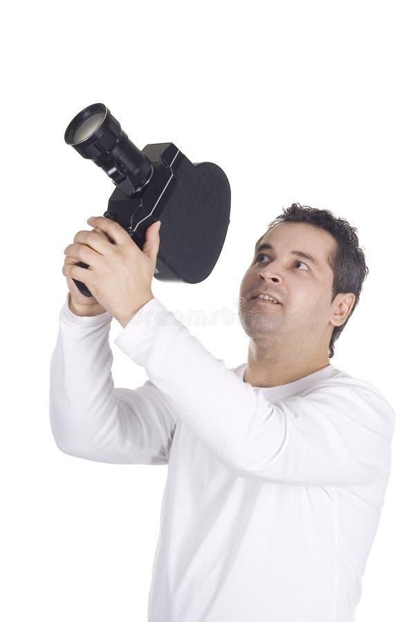 Cameraman die op wit wordt geïsoleerd royalty-vrije stock afbeelding