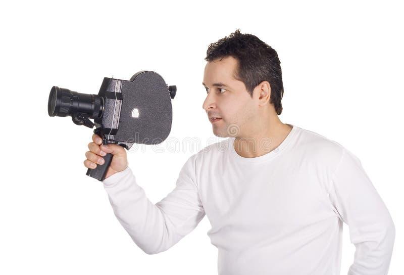 Cameraman die op wit wordt geïsoleerd3 royalty-vrije stock foto's
