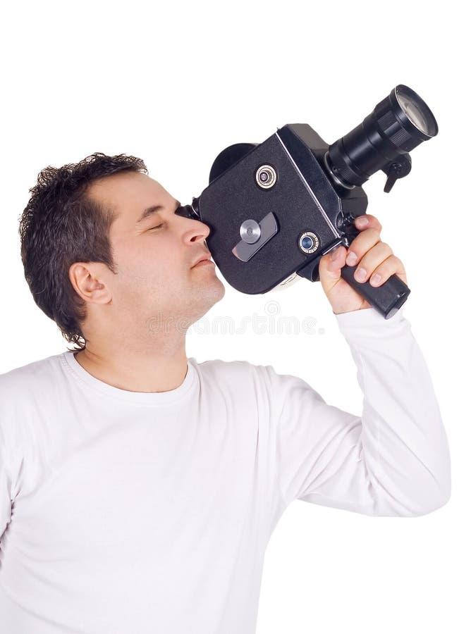 Cameraman die op wit wordt geïsoleerde royalty-vrije stock fotografie