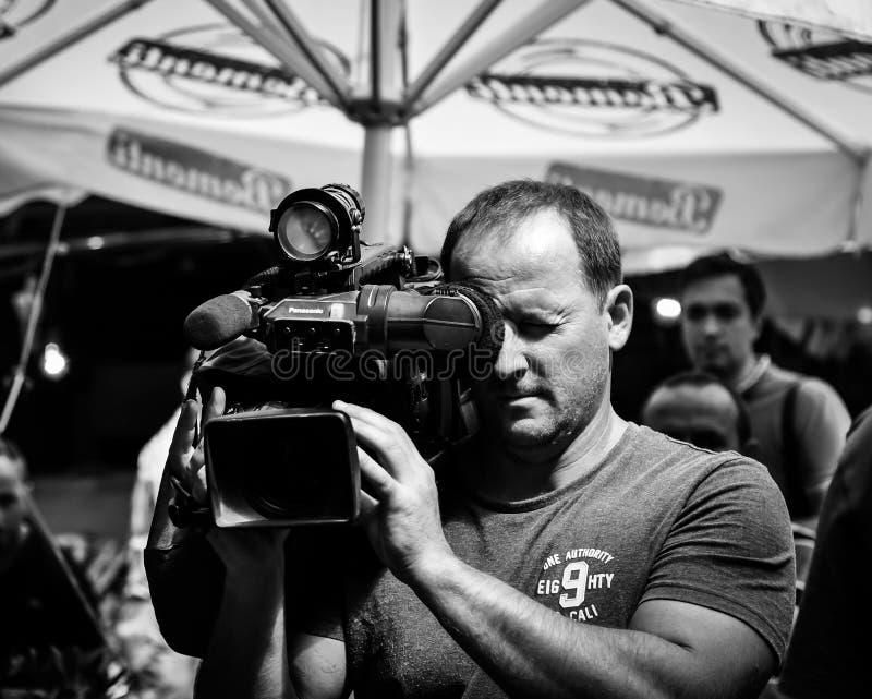Cameraman On Duty In Kadikoy Region Of Istanbul stock image