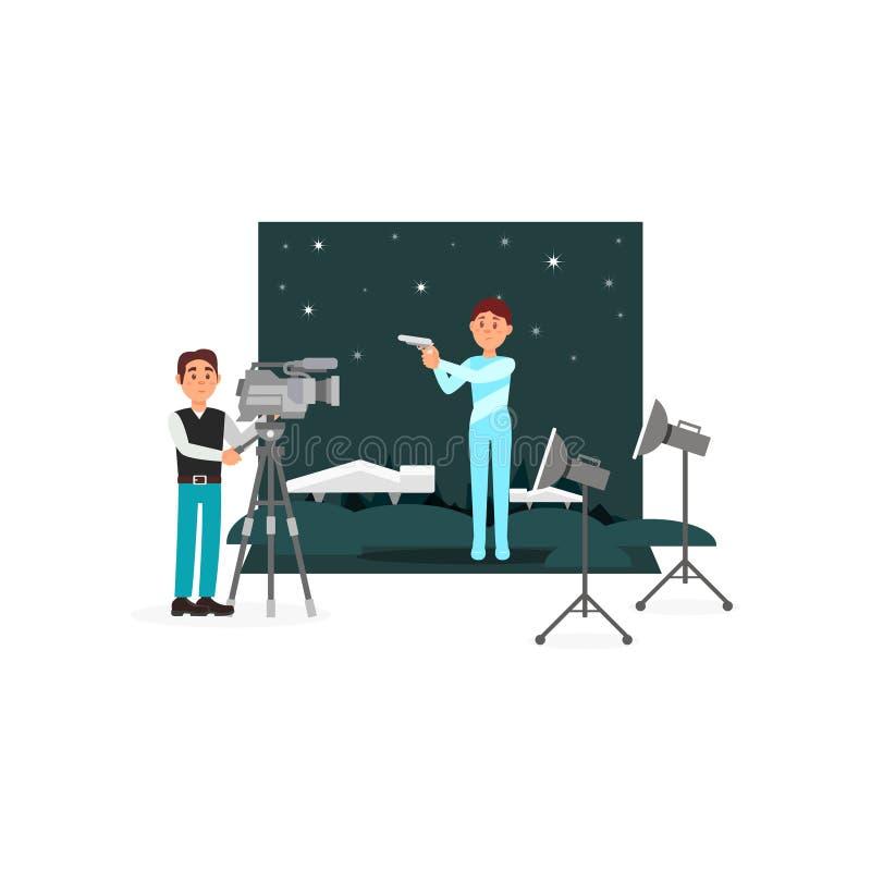 Cameraman en acteur die aan de fantastische film, de vermaakindustrie die, film werken vectorillustratie op een wit maken royalty-vrije illustratie