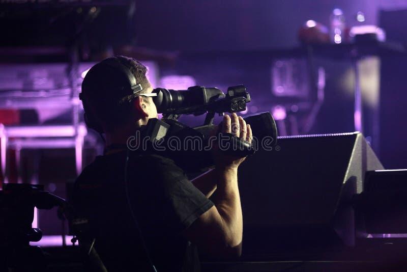 Cameraman en Carlos Santana Luminosity Tour 2016 fotos de archivo