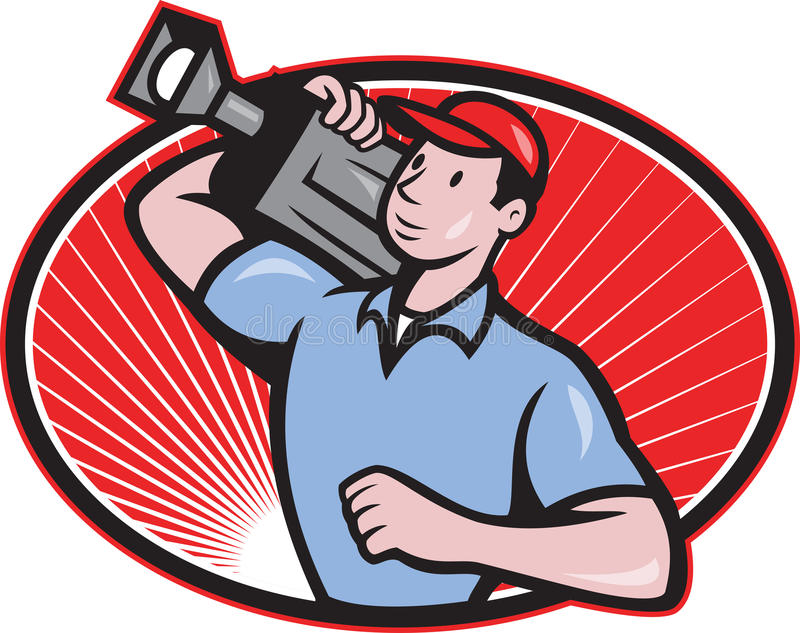 Cameraman Film Crew Carry Camera. Illustration of a cameraman film crew carrying video movie camera set inside oval done in cartoon style vector illustration