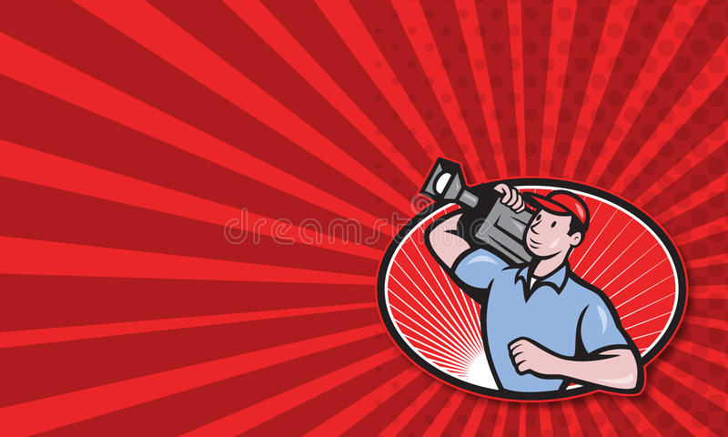 Cameraman Film Crew Carry Camera. Business card template showing illustration of a cameraman film crew carrying video movie camera set inside oval done in stock illustration