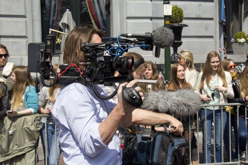 Cameraman op het Werk stock foto
