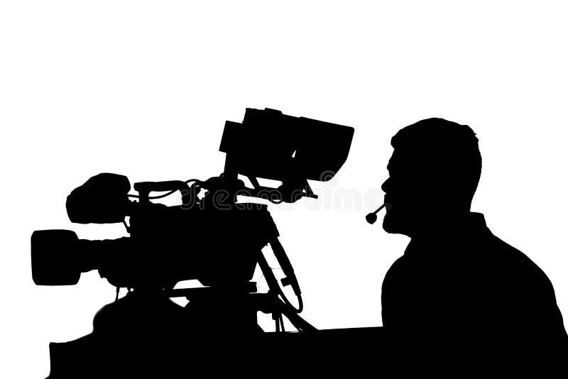 Cameraman Professionnel De TV Avec La Silhouette D ...