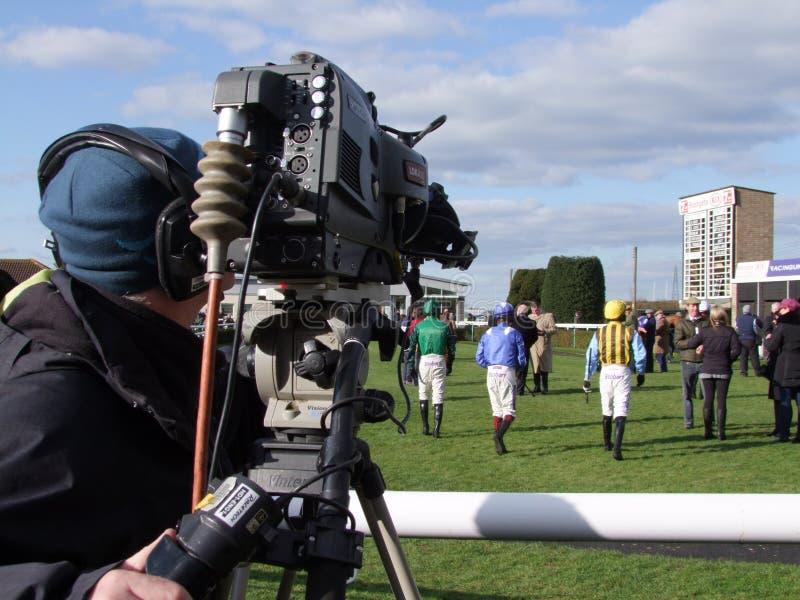 Cameraman At Races royalty-vrije stock fotografie