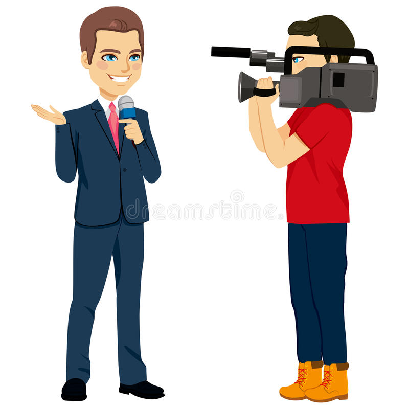Cameraman And Reporter libre illustration