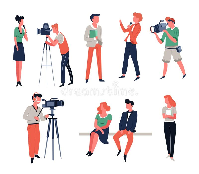 Cameraman show hosts or reporter and TV show or interview shooting. Show hosts or reporter and cameraman TV show or interview shooting or filming vector news royalty free illustration