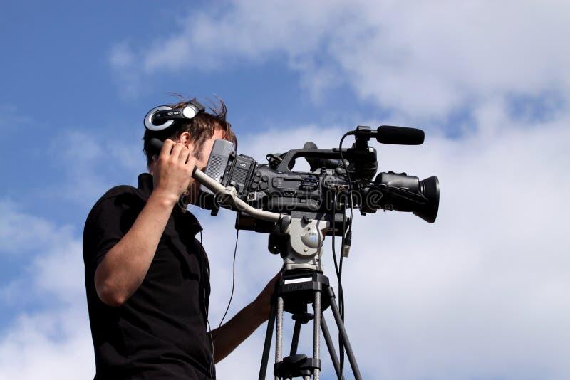 cameramanfilmande royaltyfria foton