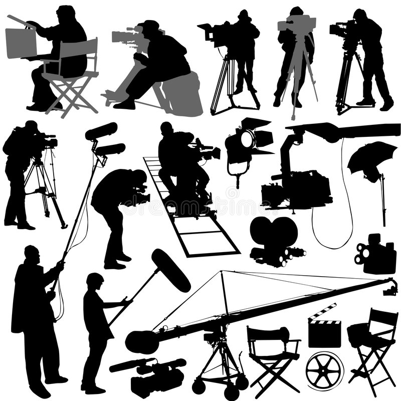 cameramanfilmset royaltyfri illustrationer