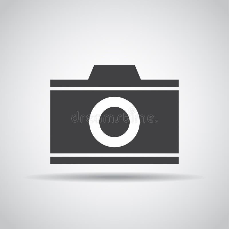 Camerapictogram met schaduw op een grijze achtergrond Vector illustratie royalty-vrije illustratie