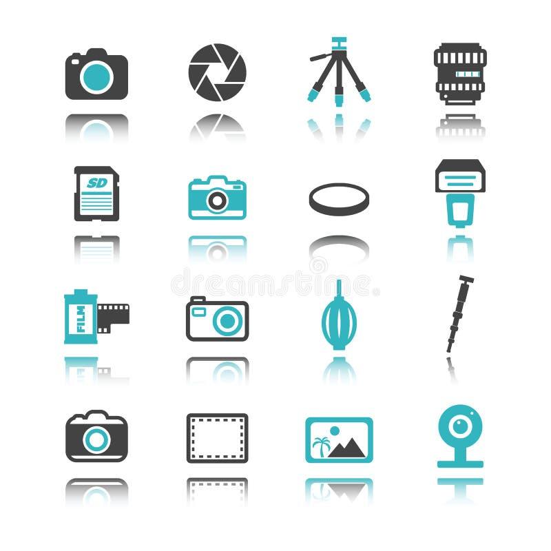 Camerapictogrammen met bezinning vector illustratie
