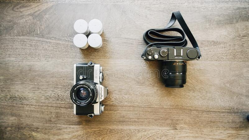 Cameras and films royalty free stock photography