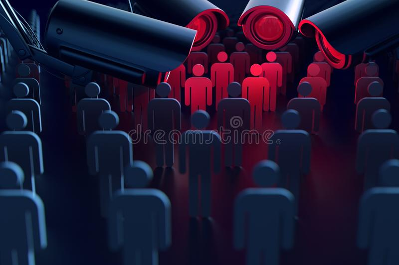 Cameras are spying citizens. The transparent society concept. 3D rendering. royalty free stock photo
