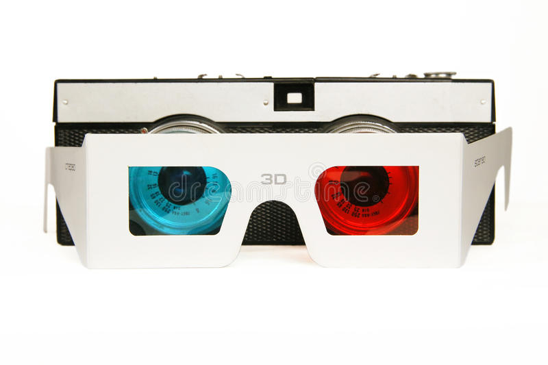 Cameras and stereo glasses. Stereo camera and 3D glasses stock image
