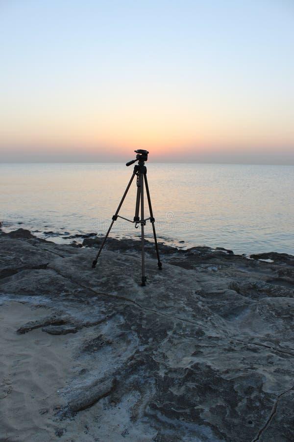 Cameratribune die op de zonneschijn wachten royalty-vrije stock afbeeldingen