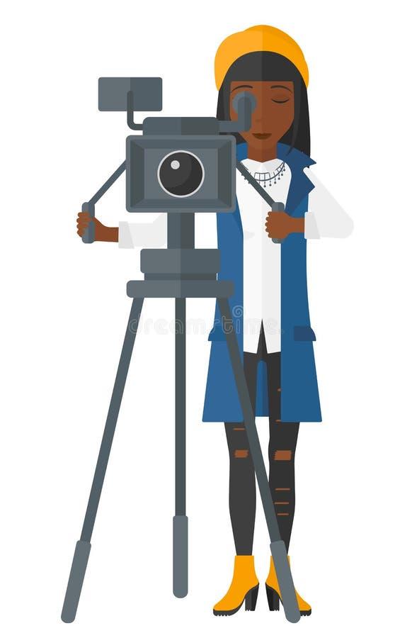 Free Camerawoman With Movie Camera Stock Photos - 65212493