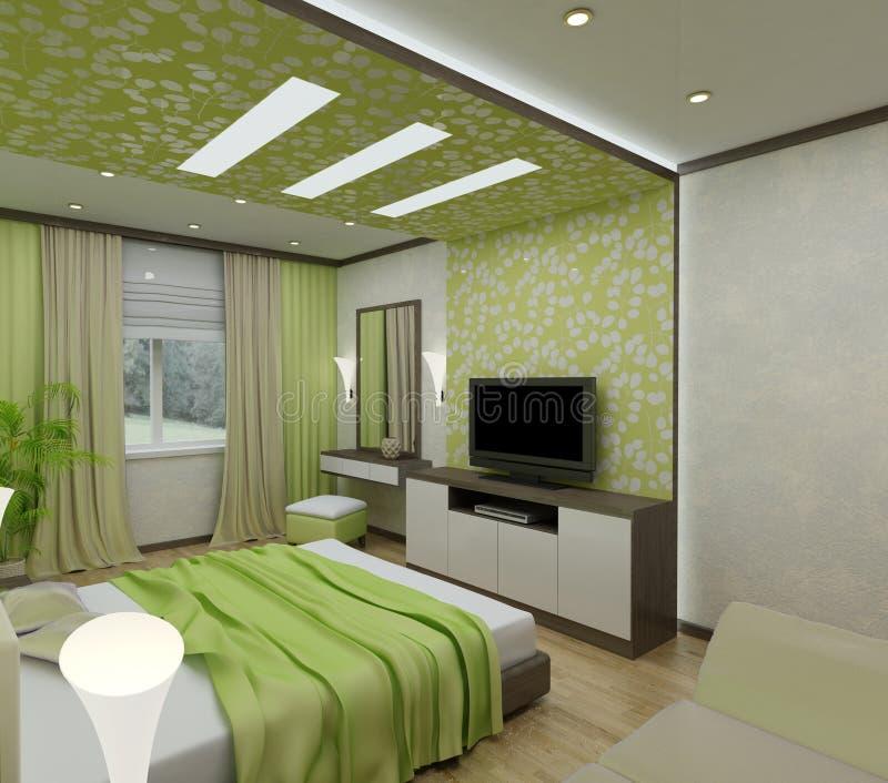 camere da letto dell'interiore 3D illustrazione di stock