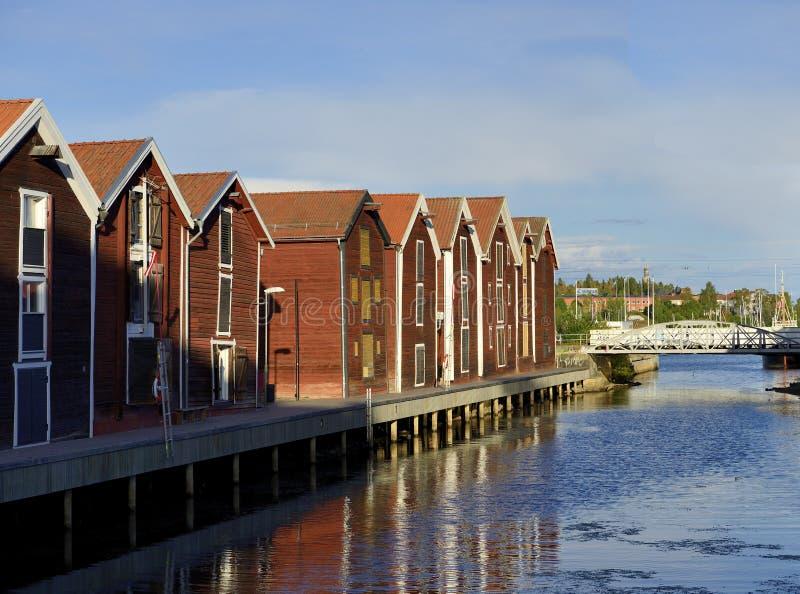 Camere dei pescatori (Hudiksvall) fotografie stock