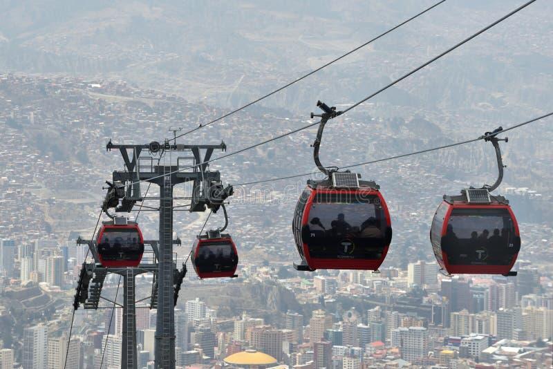 Camere del La Paz con la cabina di funivia di Teleferico immagini stock libere da diritti