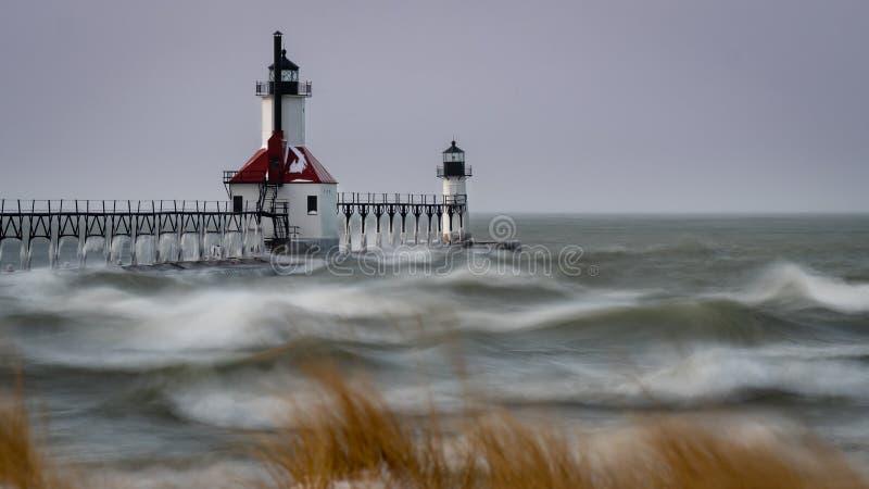 Camere della st Joseph Michigan Winter Time Light immagine stock libera da diritti