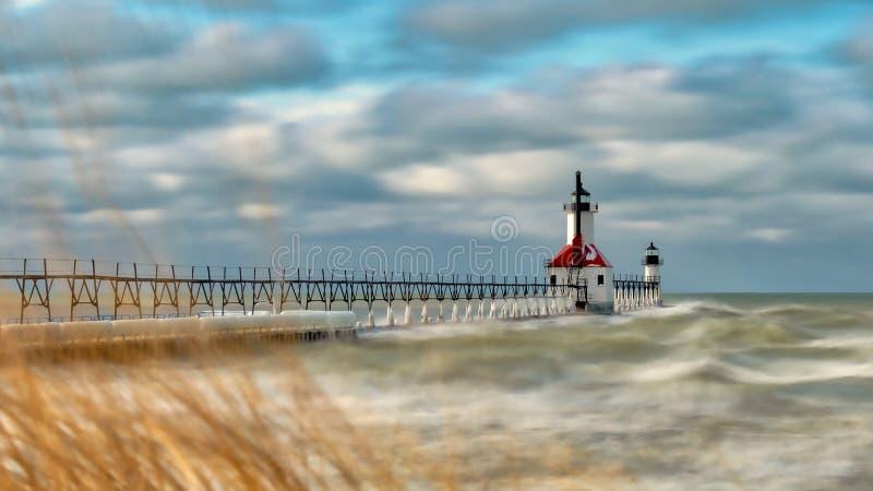 Camere della st Joseph Michigan Winter Time Light fotografia stock