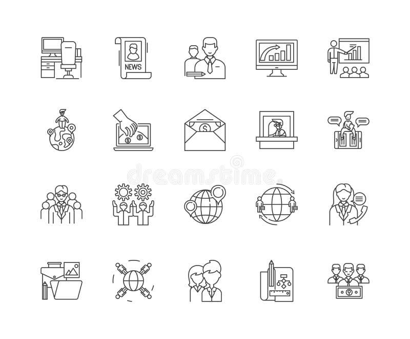 Camere di commercio la linea icone, segni, insieme di vettore, concetto dell'illustrazione del profilo royalty illustrazione gratis