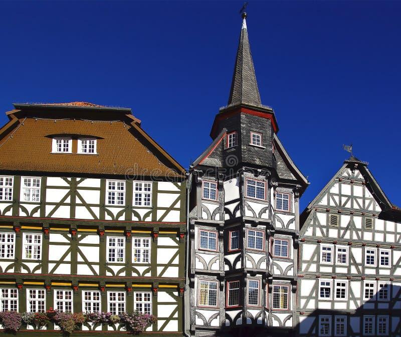 Camere di Fahverk sul quadrato del mercato (Marktplatz) Fritzlar immagini stock libere da diritti