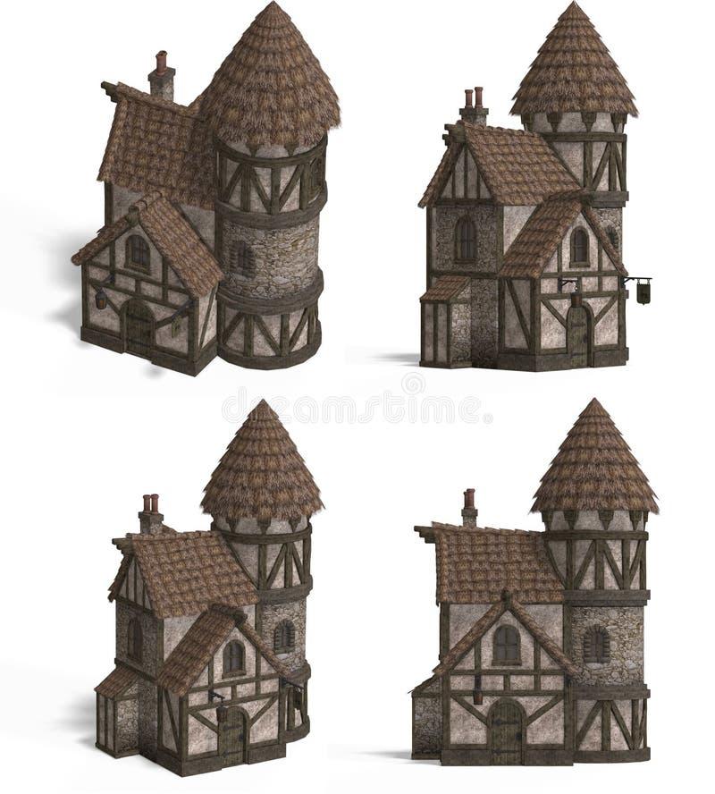 Camere medioevali - locanda illustrazione di stock
