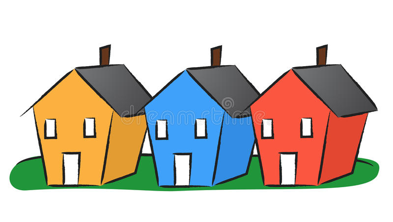 Camere in una fila illustrazione vettoriale