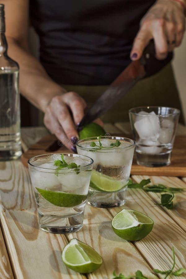 Cameriera al banco, barra, partito, donna, preparante cocktail, gallo alcolico immagine stock libera da diritti