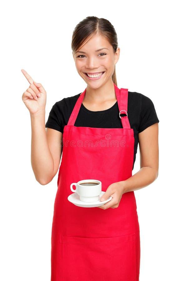 Cameriera di bar che indica il caffè della holding fotografia stock libera da diritti