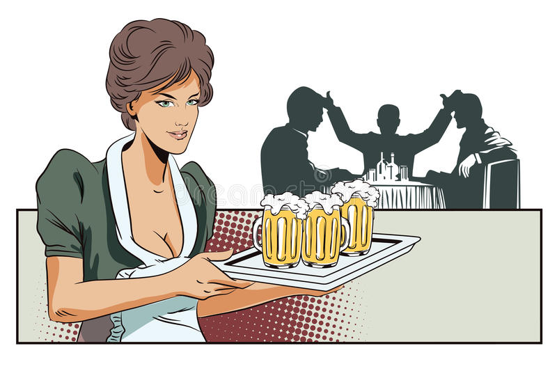 Cameriera di bar della ragazza con birra Profila l'altra gente royalty illustrazione gratis