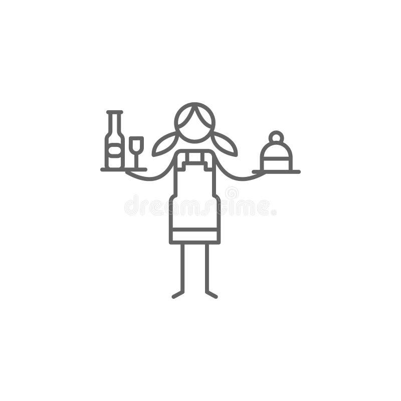 Cameriera di bar, icona del ristorante Elemento dell'icona del ristorante Linea sottile icona per progettazione del sito Web e sv illustrazione di stock