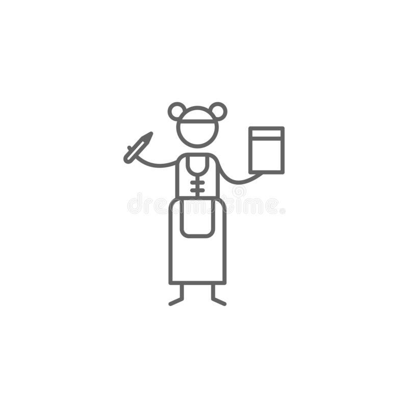 Cameriera di bar, icona del ristorante Elemento dell'icona del ristorante Linea sottile icona per progettazione del sito Web e sv illustrazione vettoriale