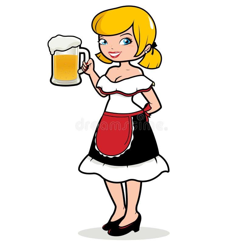 Cameriera di bar tedesca della donna che tiene una birra fredda illustrazione di stock
