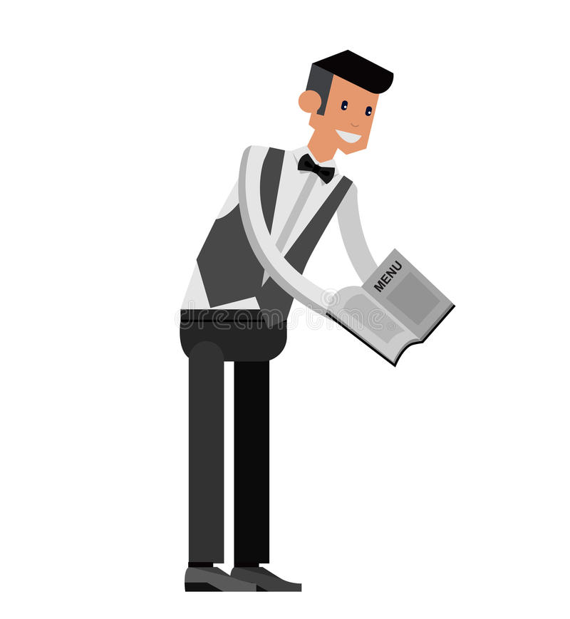Cameriere bello dei caratteri dettagliati di vettore giovane illustrazione di stock