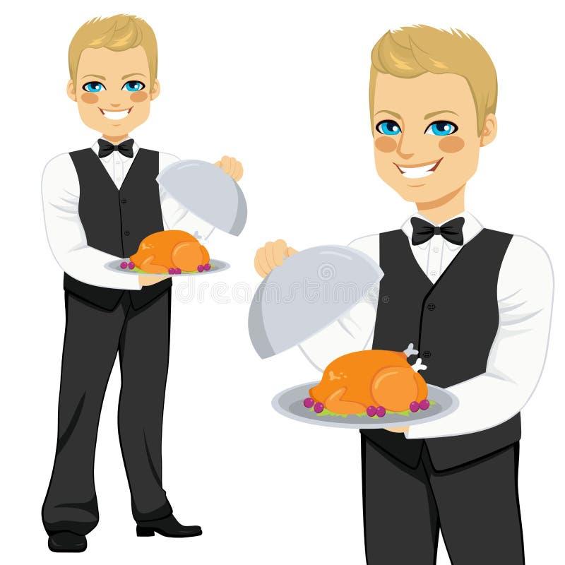 Cameriere biondo Serving Turkey illustrazione vettoriale