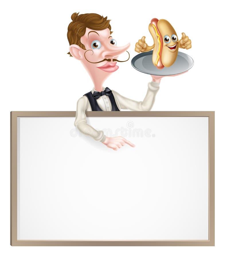 Cameriere Butler Signboard dell'hot dog del fumetto royalty illustrazione gratis