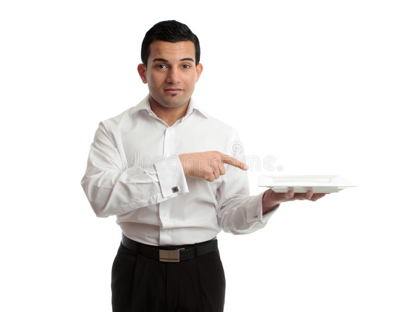 Cameriere che indica la zolla fotografia stock libera da diritti