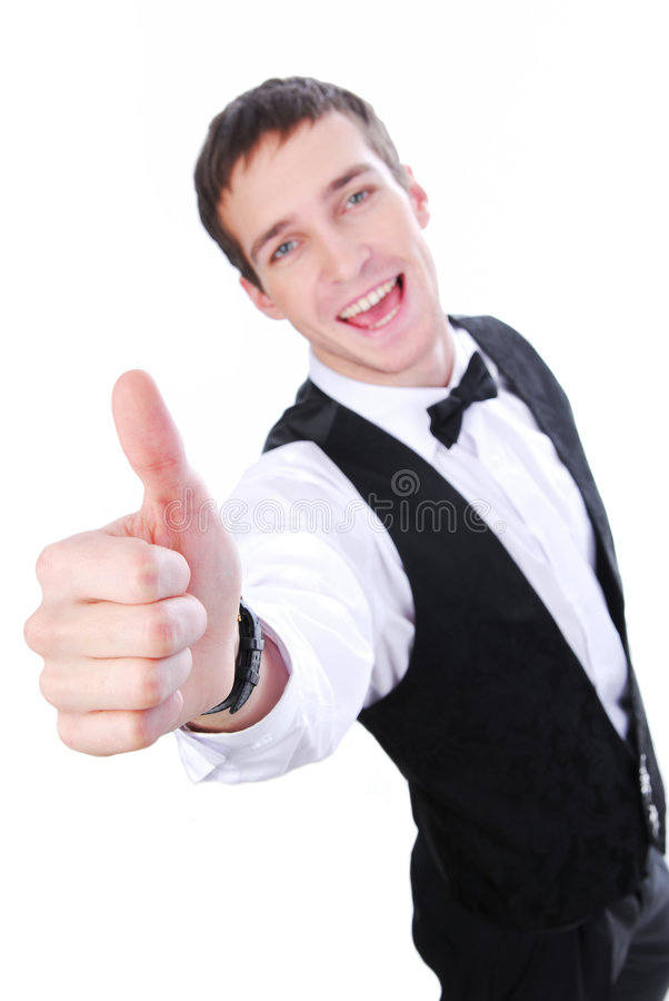 Cameriere che mostra approvazione del segno fotografia stock libera da diritti