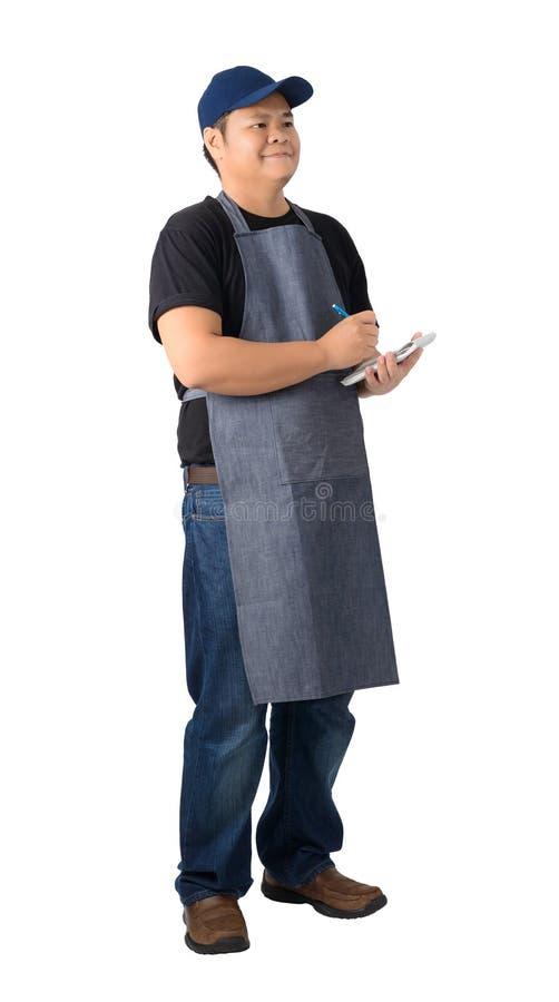 Cameriere che prende ordine e che fa nota isolata sul fondo bianco fotografie stock libere da diritti
