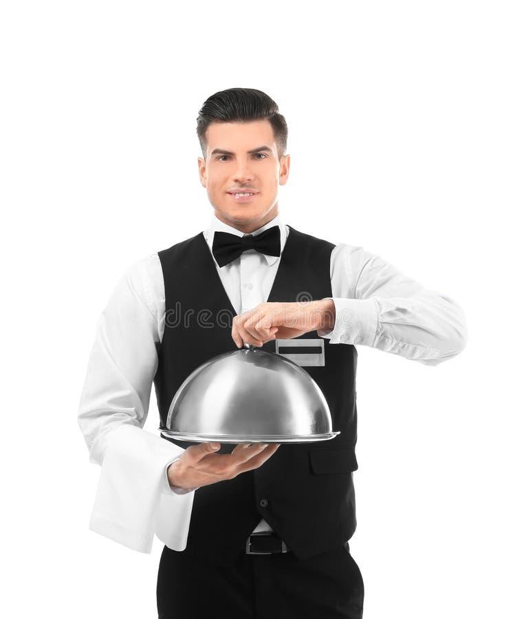 Cameriere con il vassoio e la campana di vetro del metallo fotografie stock