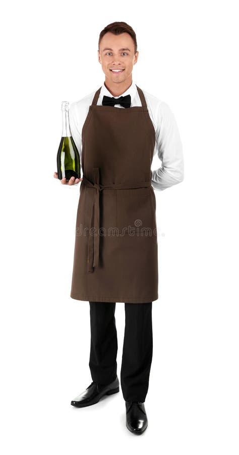 Cameriere con la bottiglia di champagne immagini stock libere da diritti